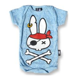Six Bunnies Short Sleeved Babygrow - Pirate Bunnie tattoo flash - Badass Babies
