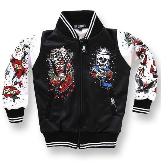 Six Bunnies Kids Jackets - Tattoo Black - Badass Babies - 1