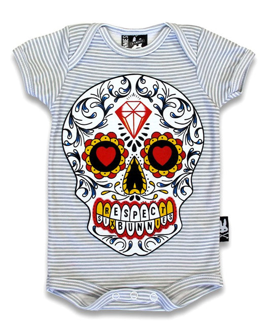 Six Bunnies Short Sleeved Babygrow - Sugar Skull - Badass Babies