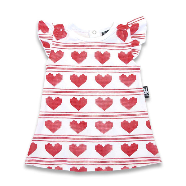 Six Bunnies Baby Dress - Knitted Hearts - Badass Babies