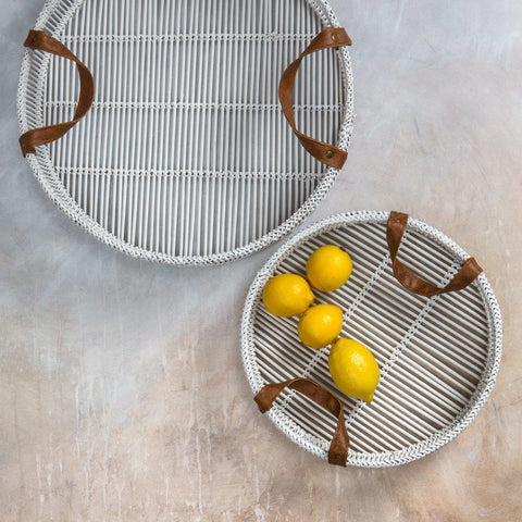 Set of two bamboo trays