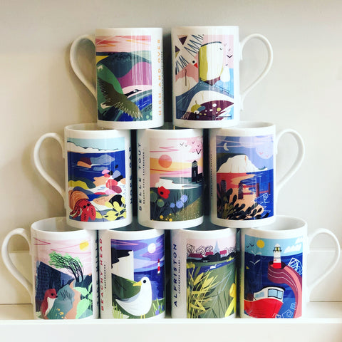 slim mug with local landscape illustration by Onneke. Seaford Splash point, Newhaven, Alfriston, Tide Mills, Hope Gap, Cuckmere Haven, Cuckmere Valley, Beachy head lighthouse, Birling Gap, High and Over, White horse