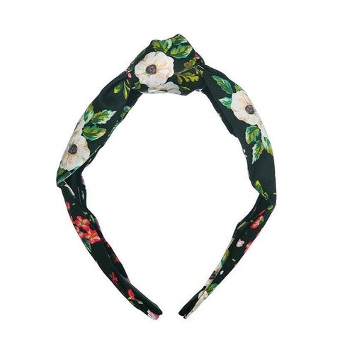 Dark Floral knot headband