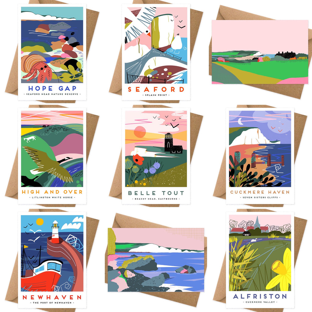 Set of five local cards by Seaford based illustrator Onneke. Splash point Seaford, Newhaven, Tide Mills, Cuckmere Haven, White horse, Litlington, Alfriston, Cuckmere valley, Beachy head lighthouse, Birling Gap, Hope Gap