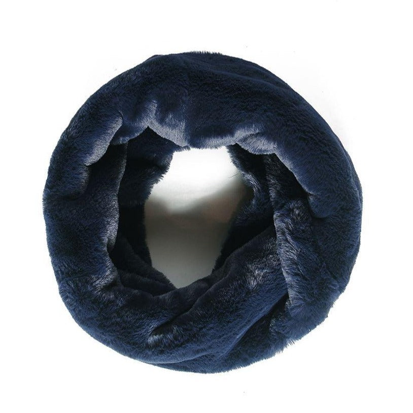 Faux fur snood navy