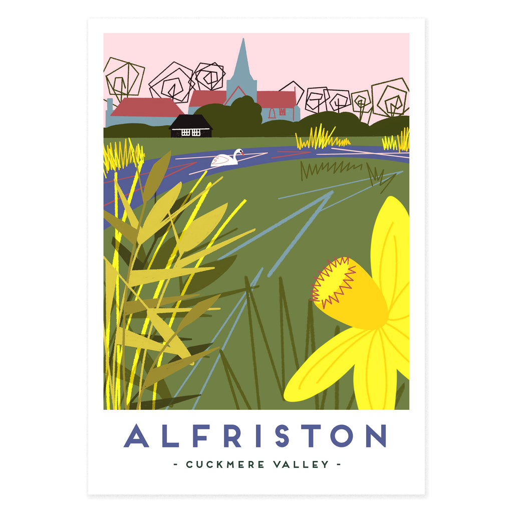 Poster print of Cuckmere Valley with Alfriston in the background by Seaford based illustrator Onneke.