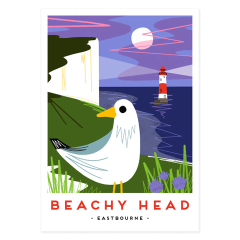 Beachy Head poster print, modern railway poster, Beachy head lighthouse, illustration from Seaford based illustrator Onneke