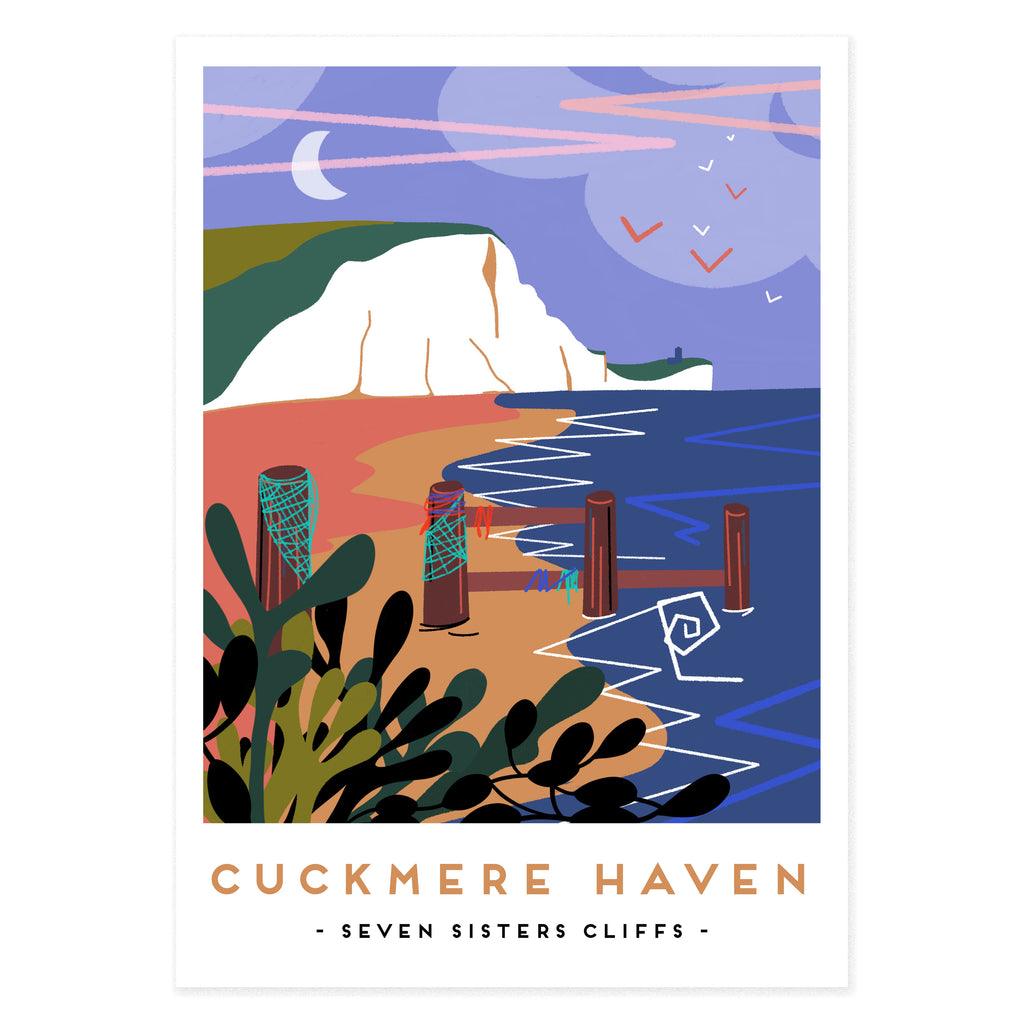Cuckmere haven poster print by Seaford based illustrator Onneke