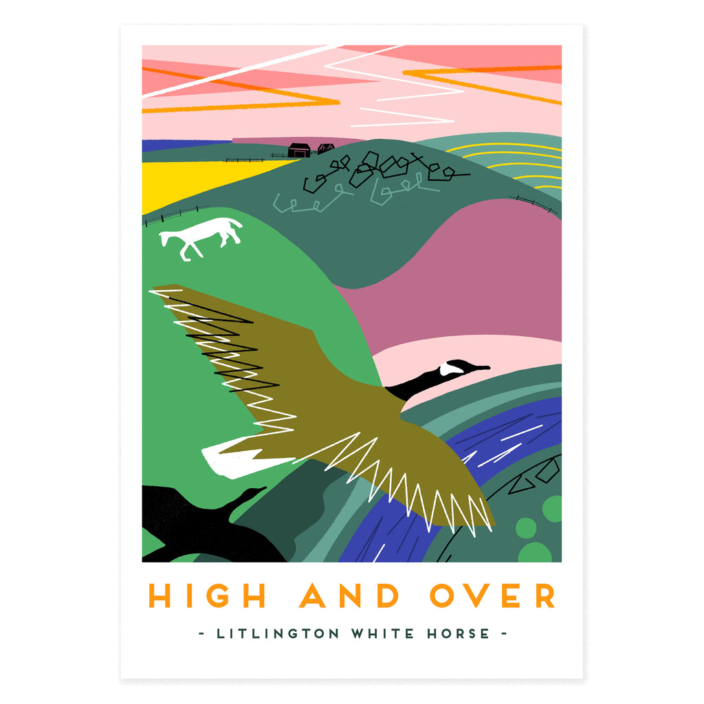 High and over litlington white horse poster print by Onneke, modern railway poster