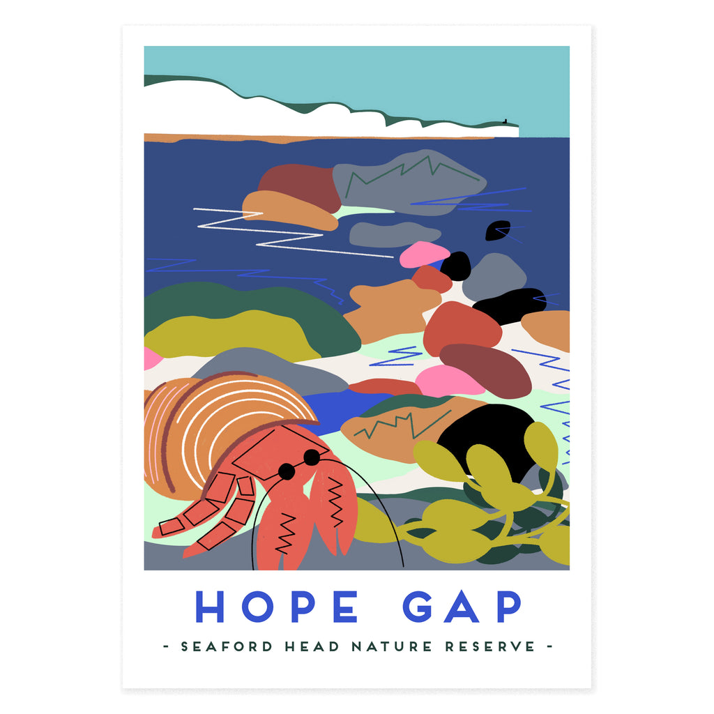 Hope Gap poster print by Seaford based illustrator Onneke. Seven sisters cliffs