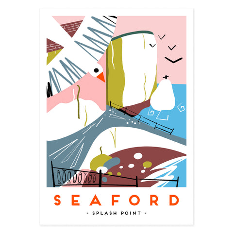 Seaford splash point poster print by illustrator Onneke, modern railway poster