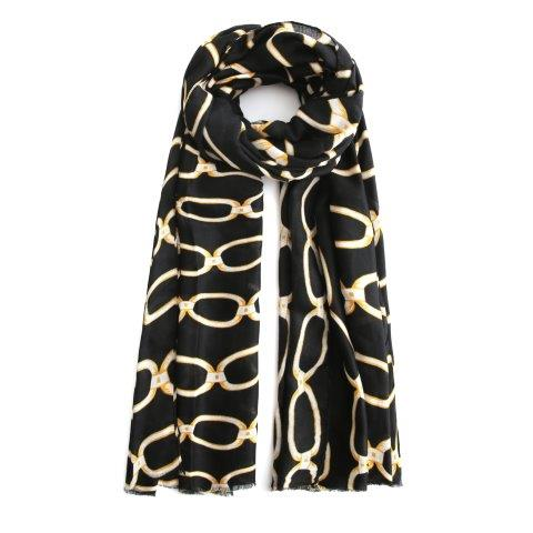 Black scarf with gold chain print