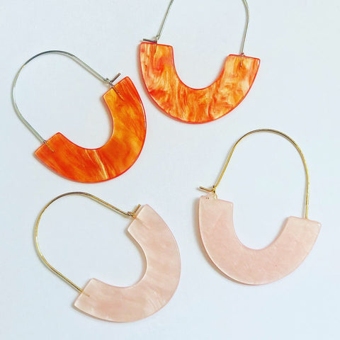 Resin semi circle earrings