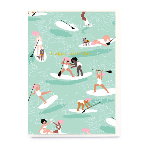 Paddle boarding birthday card