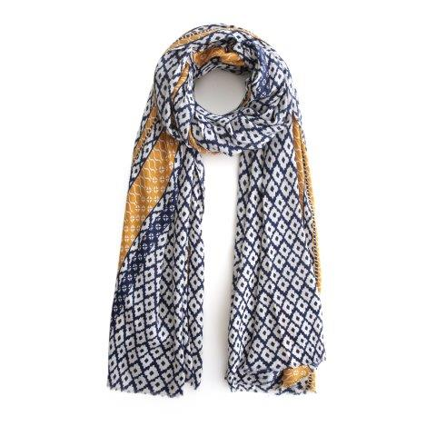 Diamon print navy and yellow scarf