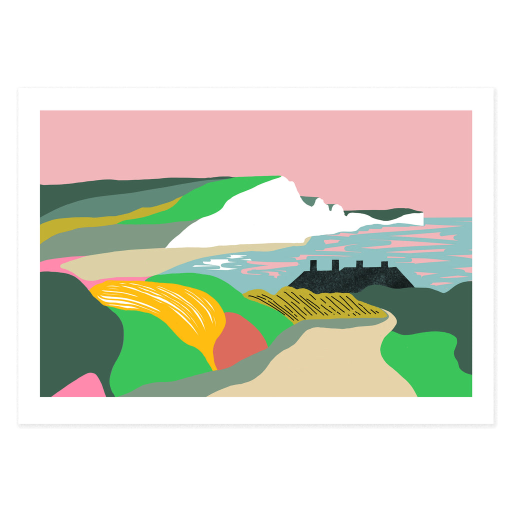 Dreamy landscape I giclee print by Seaford based illustrator Onneke Northcote-Green. Cuckmere, Seven sisters cliffs and coastguard cottages.