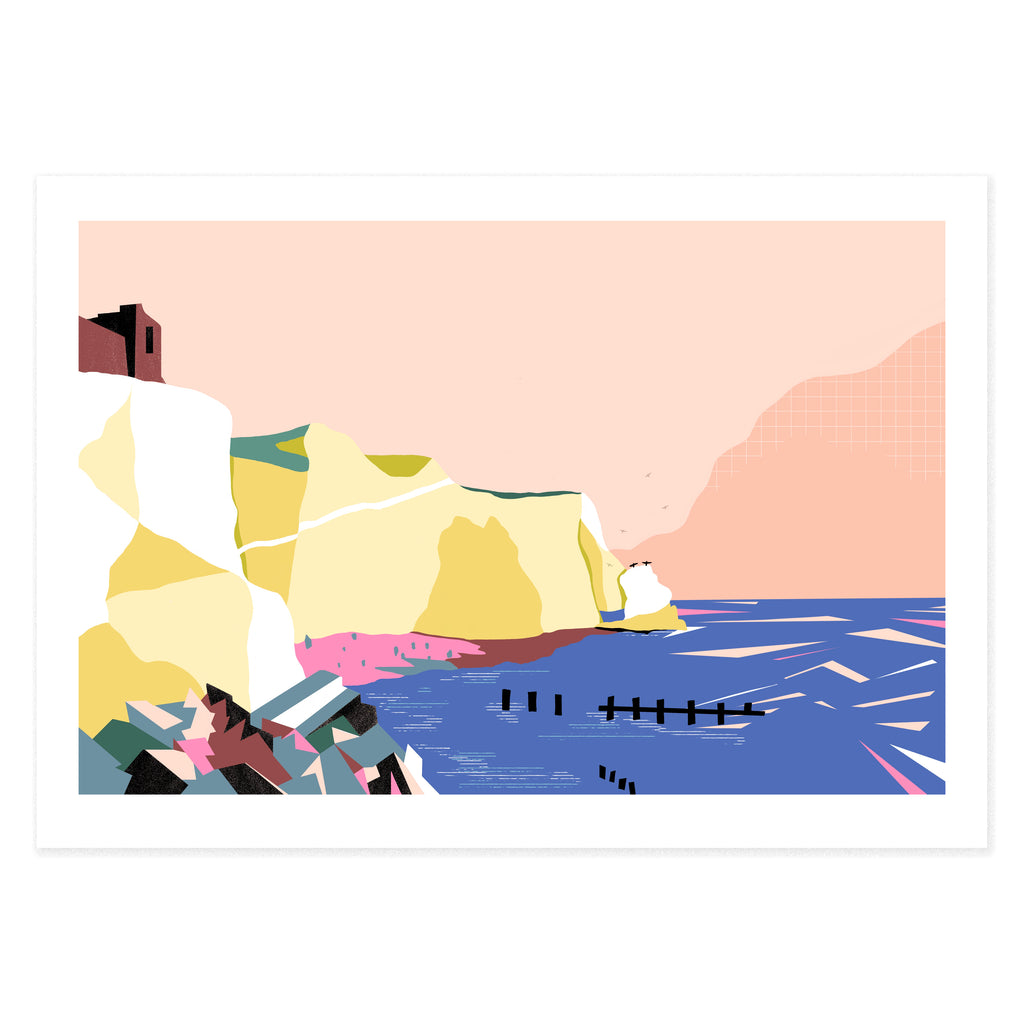 Dreamy landscape IV card by Seaford based illustrator Onneke Northcote-Green. Splashpoint, Seaford Head cliffs, Seaford, East sussex