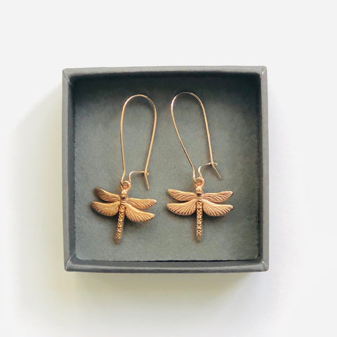 Rose gold dragon fly earrings