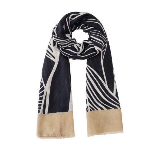 Black leaf print scarf with beige