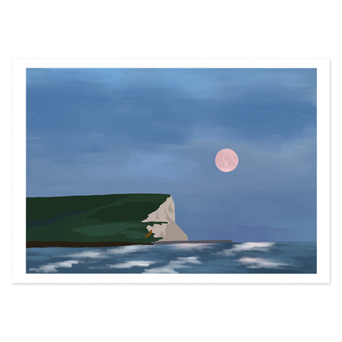 Pink moon rising over Seaford head