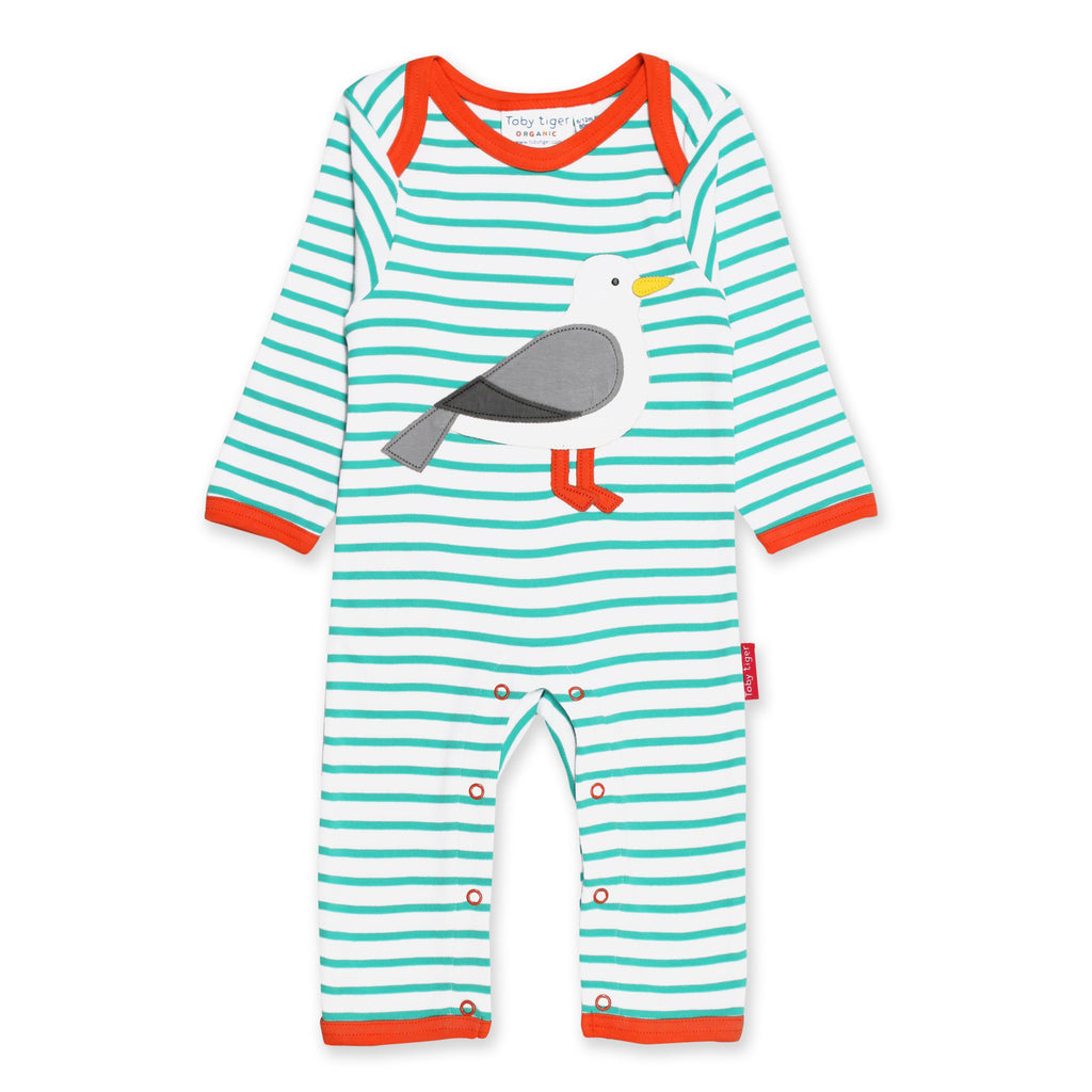 Toby tiger organic cotton seagull sleep suit baby grow