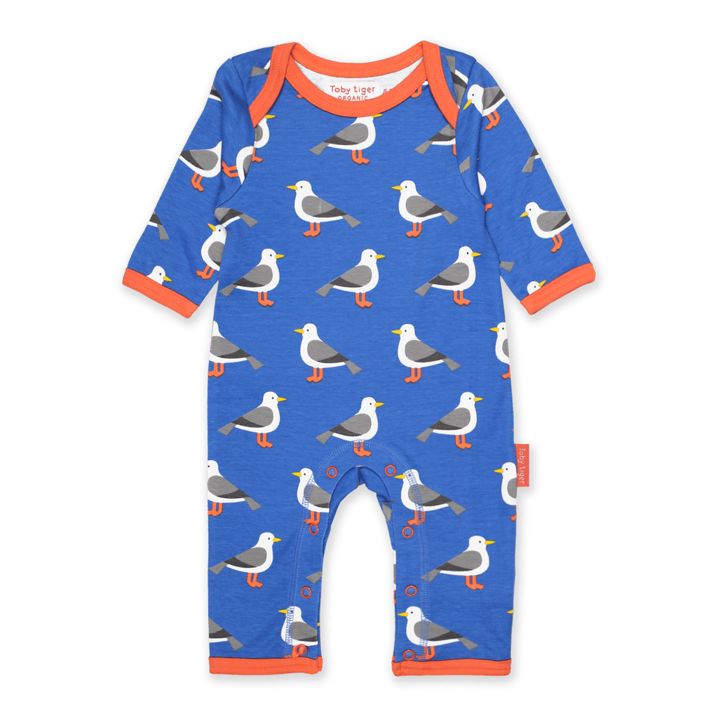 Toby Tiger Seagull pattern sleepsuit blue