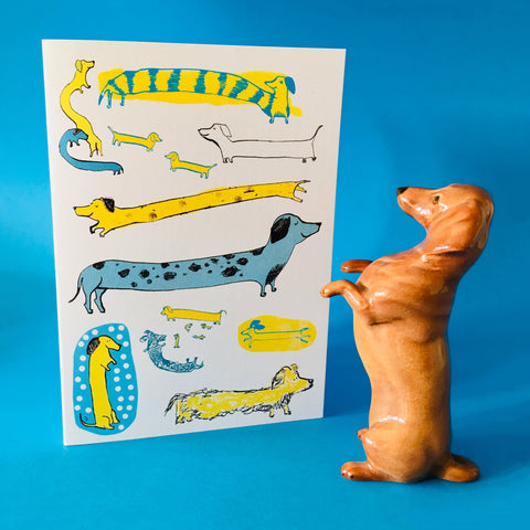 Sausage dogs card A6