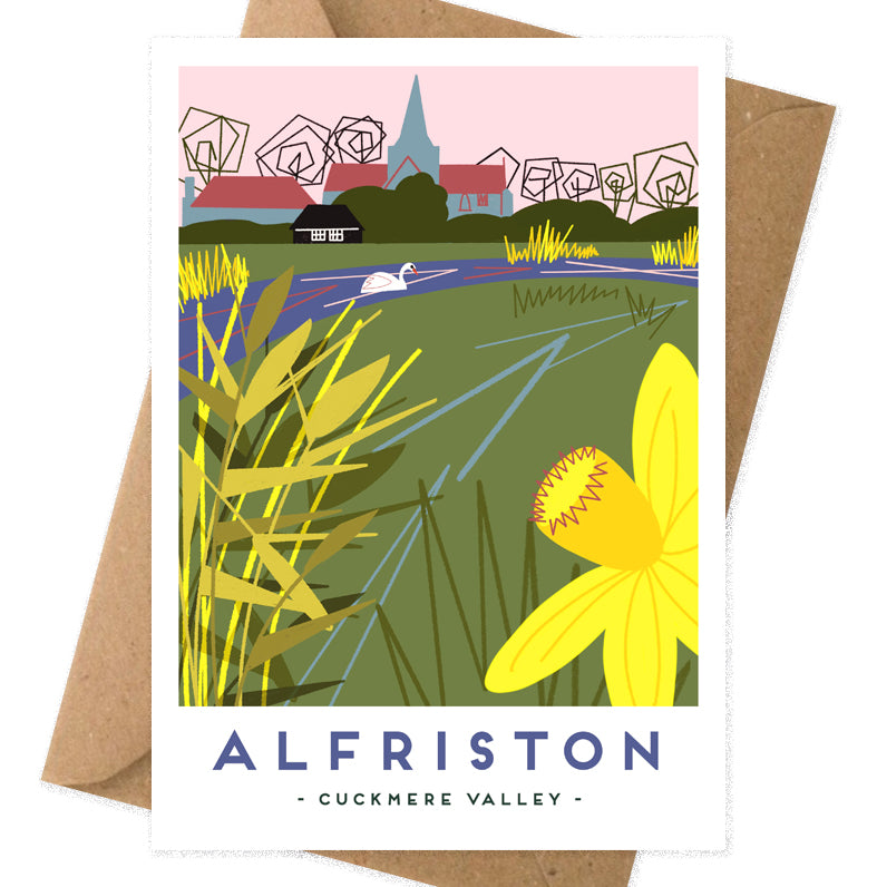 Alfriston Cuckmere Valley Card with print from Seaford based illustrator Onneke.