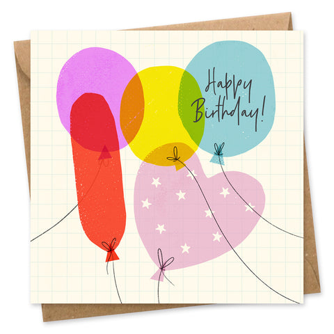 Happy Birthday Balloons square card