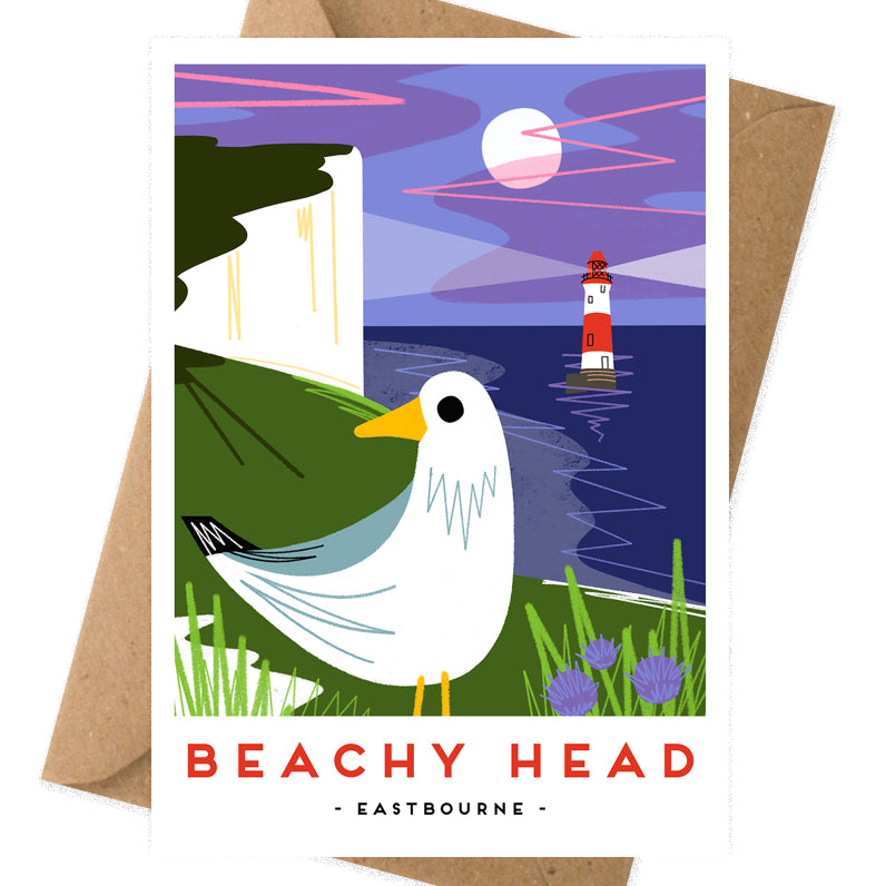 Beachy head card with print from Seaford based illustrator Onneke.