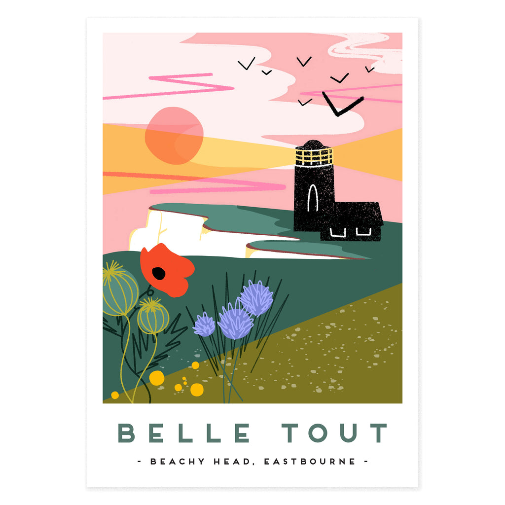 Belle Tout lighthouse, Eastbourne. This illustration was made by Seaford based illustrator Onneke Northcote-Green and is available as a poster on A4 and A3.