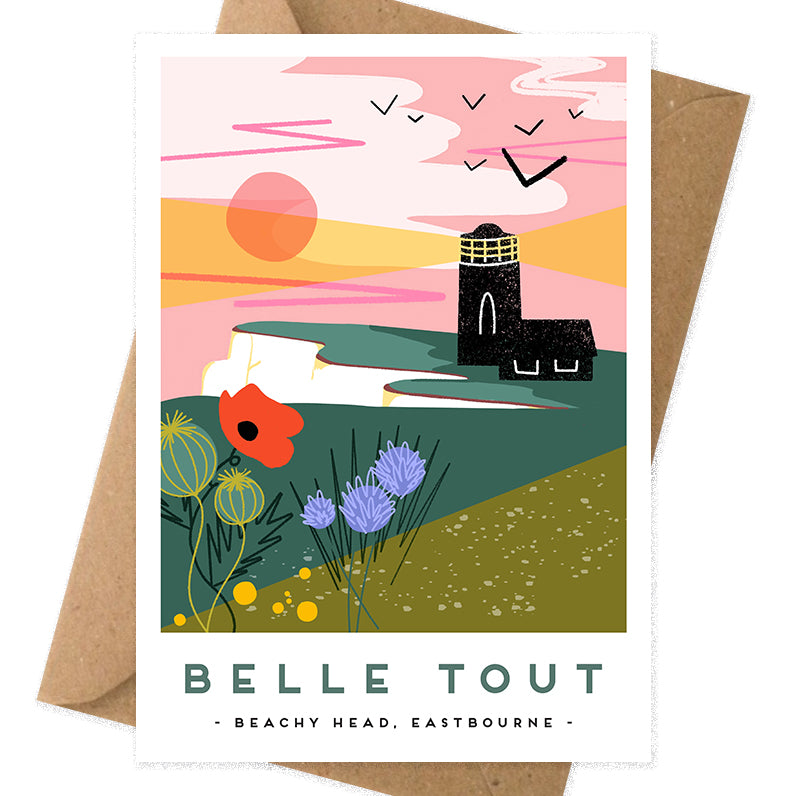 Belle Tout lighthouse, Eastbourne greeting card. This illustration was made by Seaford based illustrator Onneke Northcote-Green and is also available as a poster on A4 and A3.