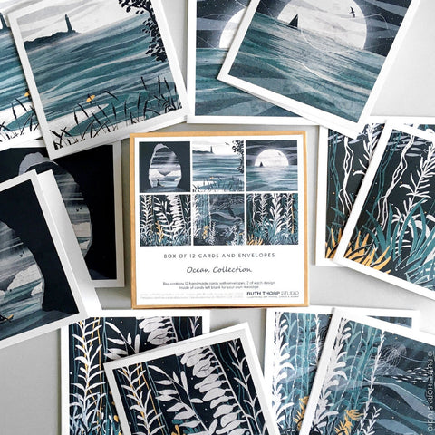 Ocean collection Box of 12 cards