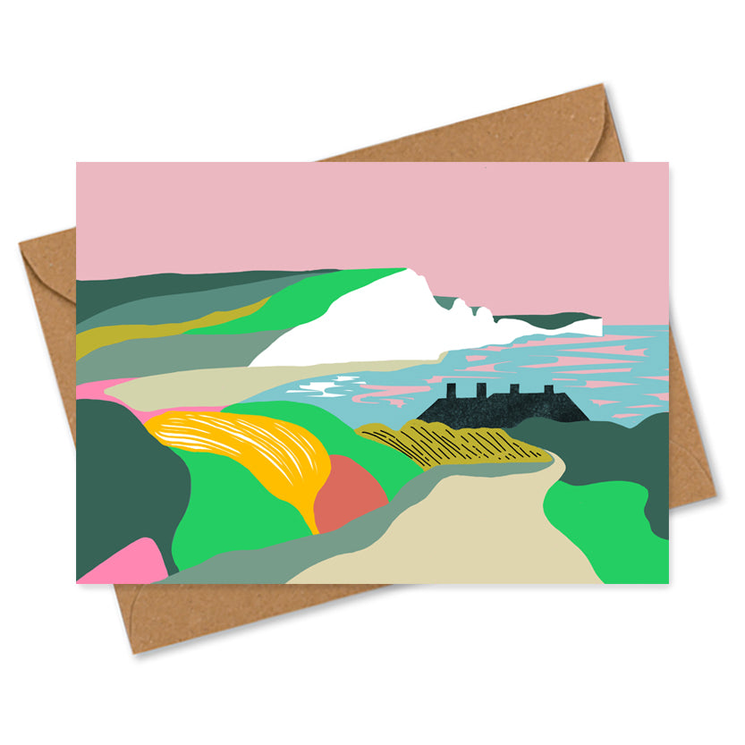 Dreamy landscape I card by Seaford based illustrator Onneke Northcote-Green. Cuckmere, Seven sisters cliffs and coastguard cottages.