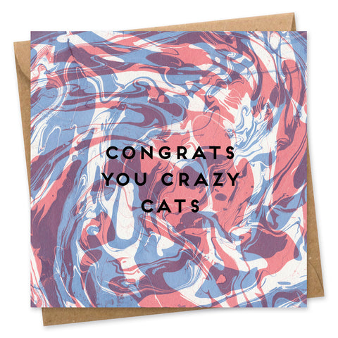 Crazy Cats congratulations card