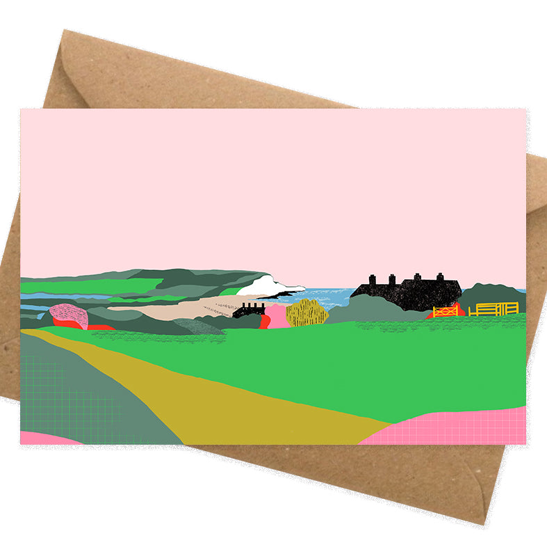 Dreamy landscape II card by Seaford based illustrator Onneke Northcote-Green. Cuckmere, Seven sisters cliffs and coastguard cottages.