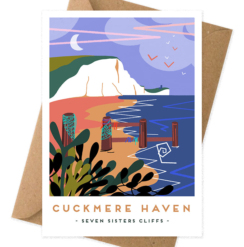 Cuckmere Haven seven sisters cliffs greetings card