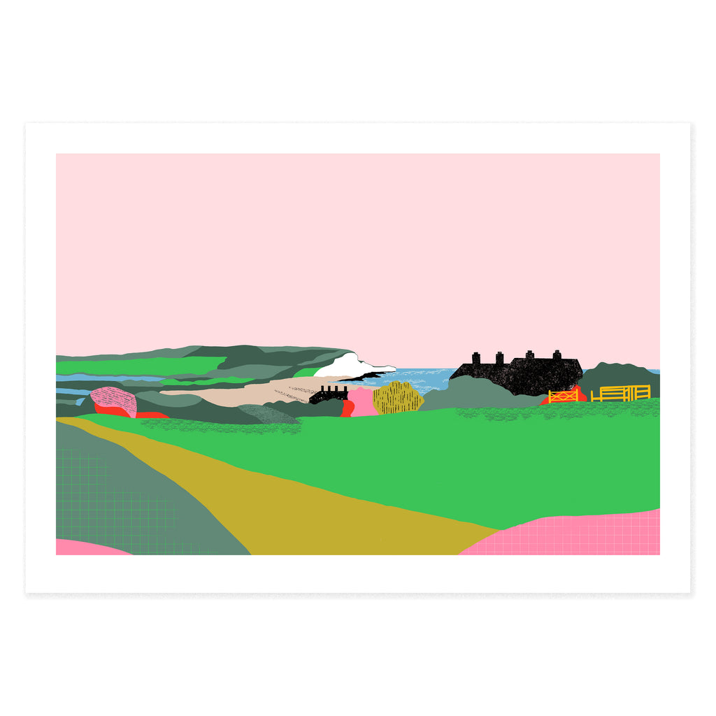 Dreamy landscape II giclee print by Seaford based illustrator Onneke Northcote-Green. Cuckmere, Seven sisters cliffs and coastguard cottages.