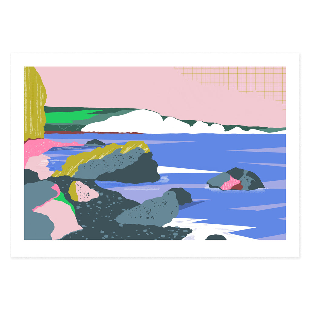 Dreamy landscape III giclee print by Seaford based illustrator Onneke Northcote-Green. Seven sisters cliffs and Hope Gap beach.