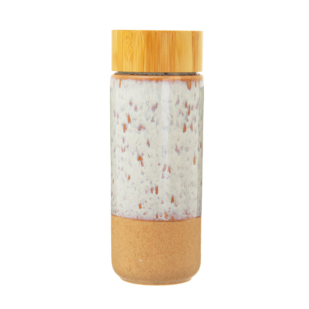 Ceramic drink bottle with bamboo lid
