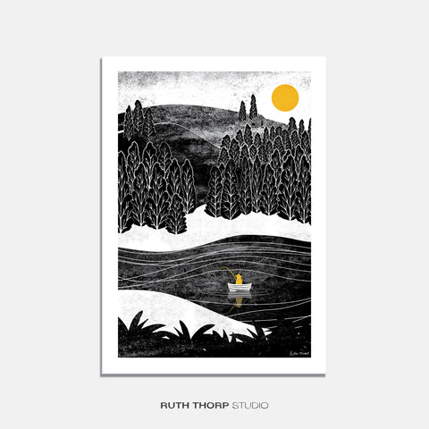 Gone fishing print Ruth Thorp A4