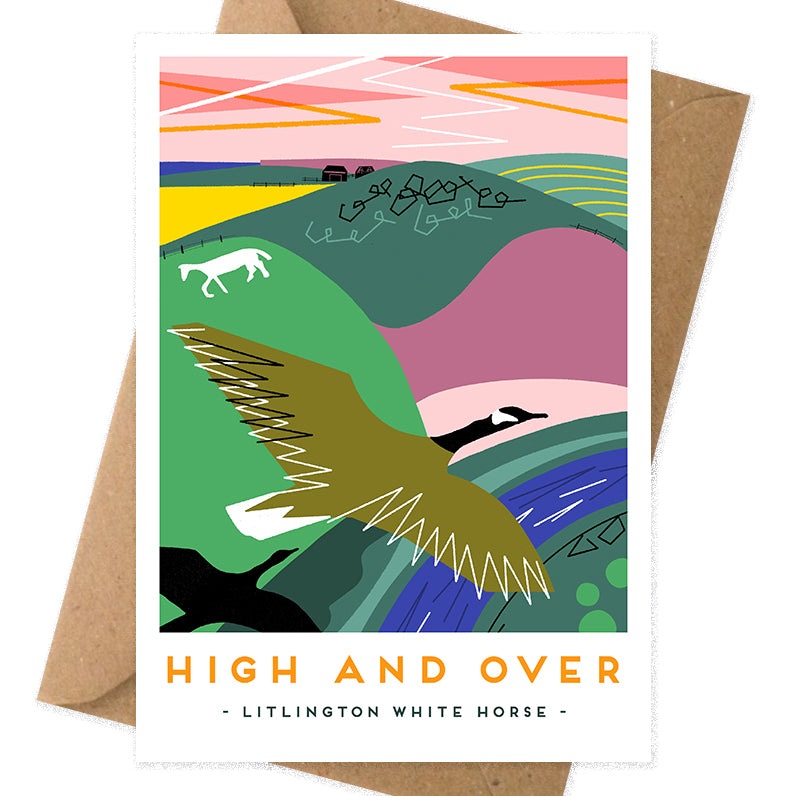 High and over litlington white horse greeting card by Onneke, modern railway poster