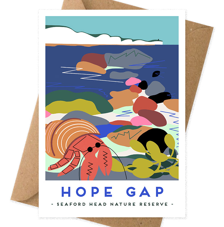 Hope Gap greeting card by Seaford based illustrator Onneke. Seven sisters cliffs