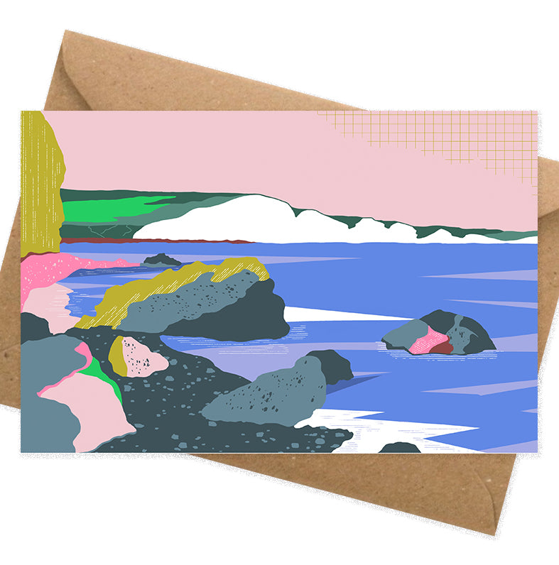 Dreamy landscape III card by Seaford based illustrator Onneke Northcote-Green. Seven sisters cliffs and Hope Gap beach.