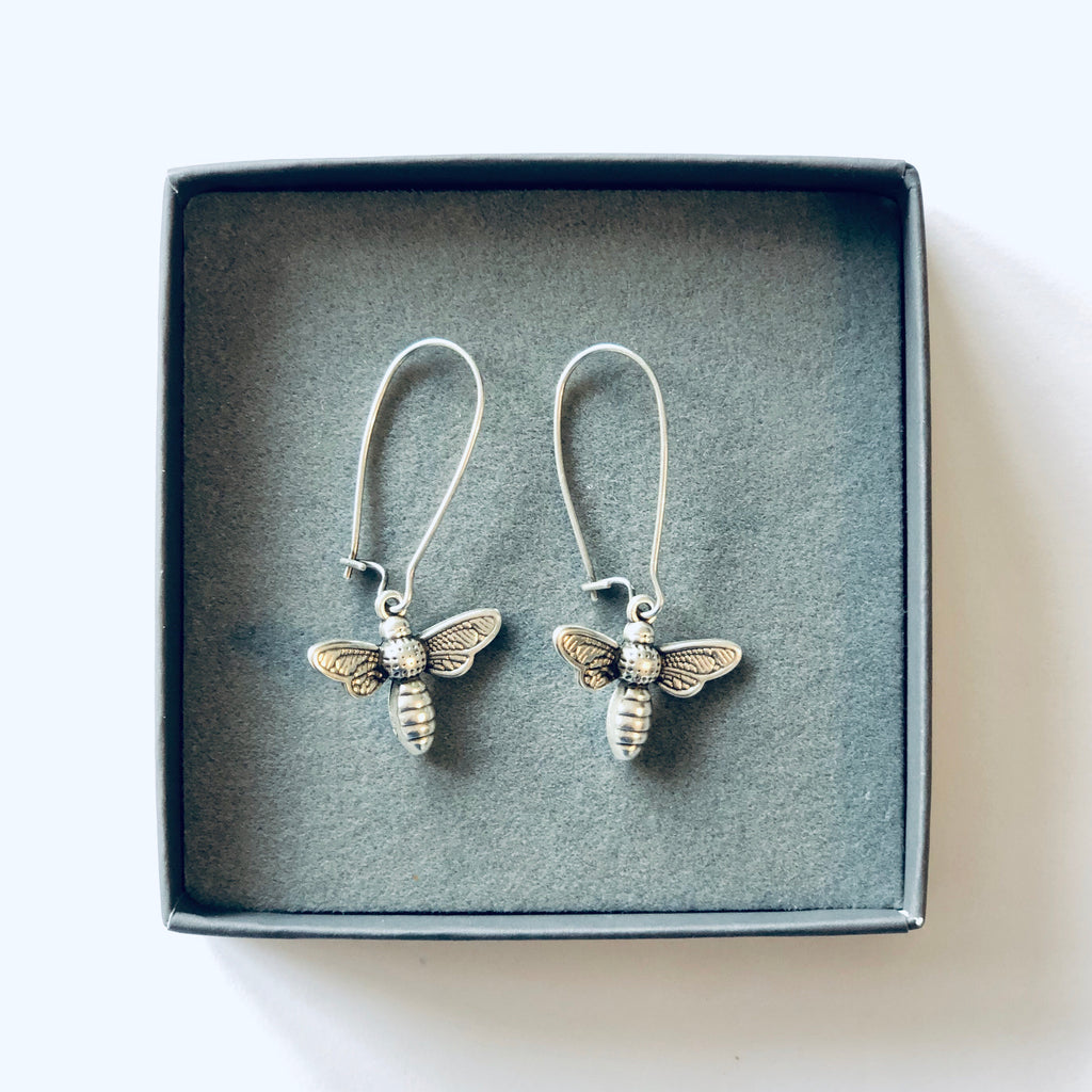 Bee earrings silver in matchbox style gift box