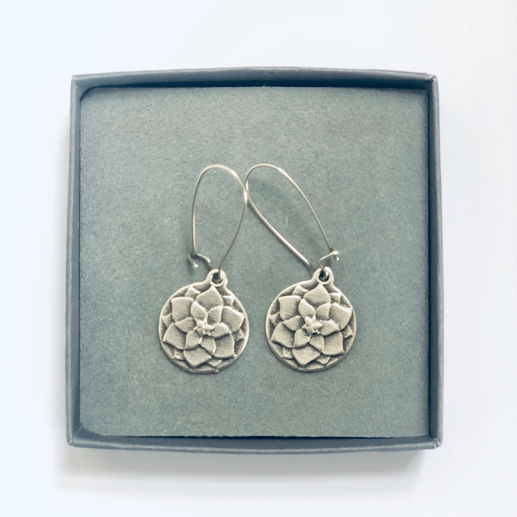 Lotus flower earrings in box
