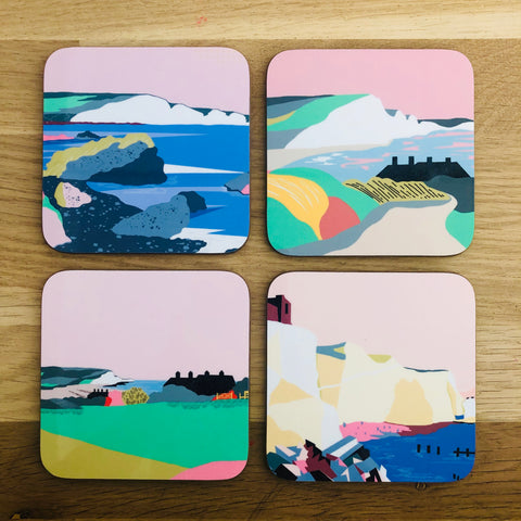 Dreamy landscape coasters set of 4