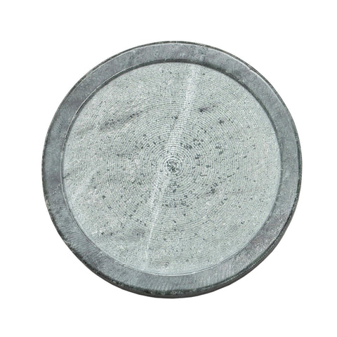 Green/grey marble disk candle holder