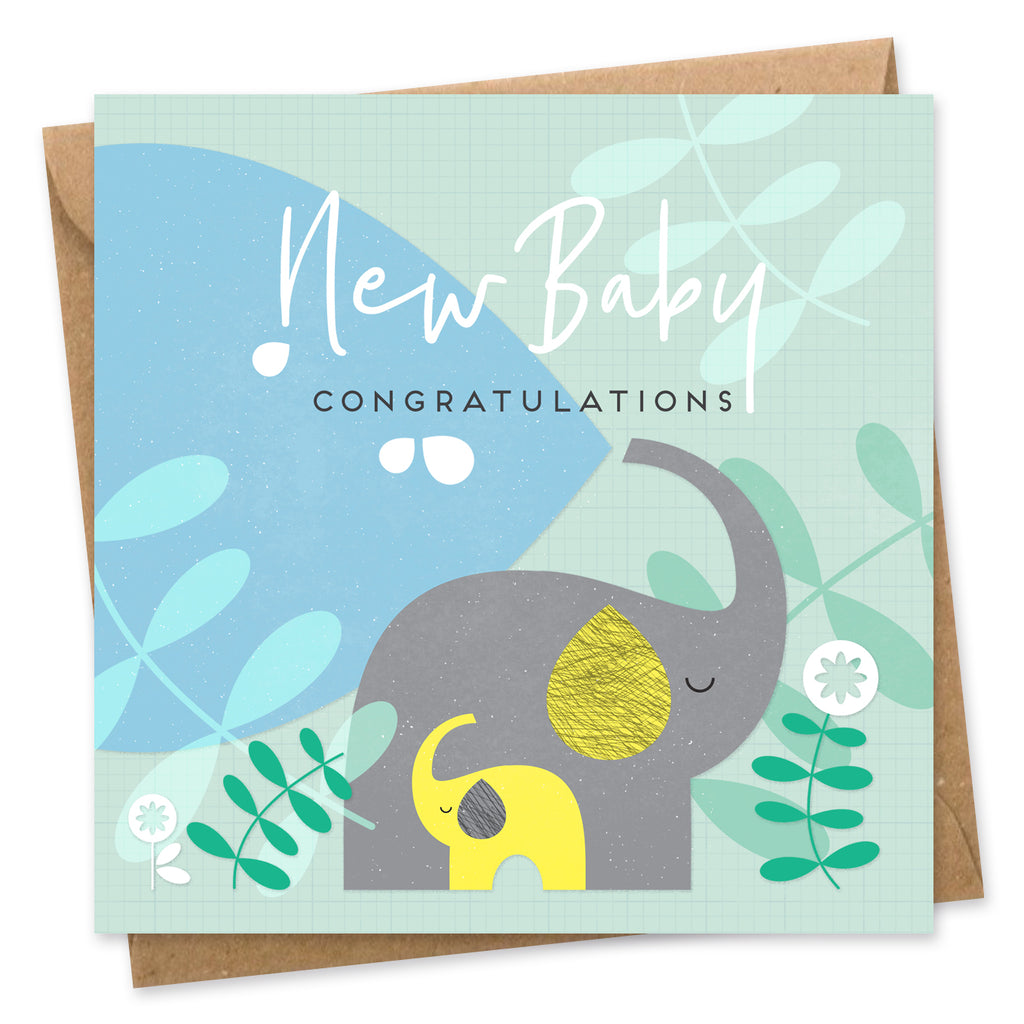 New baby card elephant