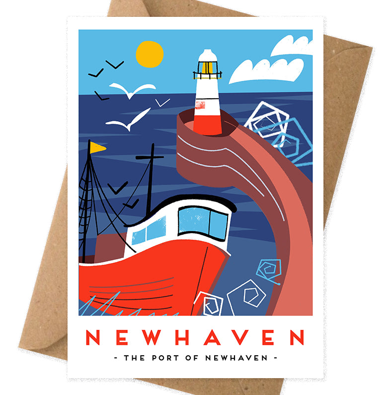 newhaven lighthouse illustration greeting card by Onneke